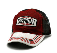 Hat - Chevrolet Dirty Wash Mesh Adjustable Ball Cap Red & Black FREE SHIPPING
