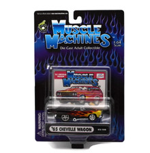 1965 Chevy Chevelle Wagon MUSCLE MACHINES Diecast 1:64 Scale Black FREE SHIPPING