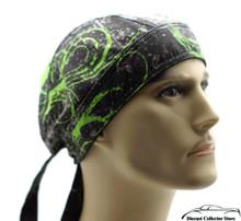 Bandana Headwrap DANBANNA DELUXE Green Throttle Du-Rag Skull Cap
