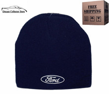 Hat - Ford Cuffless Knit Beanie W/Embroidered Logo Navy Blue FREE SHIPPING