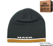 Hat - MACK TRUCK Cuffless Knit Beanie W/Embroidered Logo Charcoal FREE SHIPPING