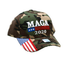 Hat - TRUMP  2020 MAGA Camouflage w/ Flag Ball Cap FREE SHIPPING
