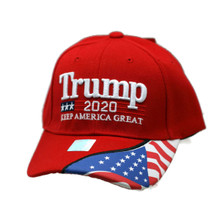 Hat - TRUMP 2020 Red w/ Flag Ball Cap FREE SHIPPING