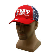 Hat - TRUMP 2020 Red Vented Mesh w/ Flag Ball Cap FREE SHIPPING