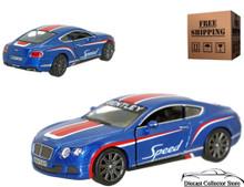2012 Bentley Continental GT Speed KINSMART Diecast 1:38 Blue FREE SHIPPING