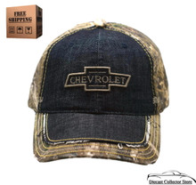 Hat - Chevrolet RealTree Camouflage & Denim Cap Distressed Bill FREE SHIPPING