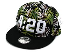 Hat - Marijuana 4:20 Snapback Flat Bill Cap Black & Green FREE SHIPPING