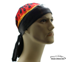 Bandana Headwrap Cotton w/ Leather Like Trim Du-Rag Skull Cap Doo Rag Red Flames