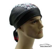 Bandana Headwrap Cotton Leather Like Du-Rag Skull Cap Doo Rag White Skulls - Red