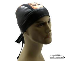 Bandana Headwrap Cotton with Leather Like Du-Rag Skull Cap Doo Rag Brwon Skulls