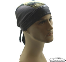 Bandana Headwrap Cotton Leather Like Du-Rag Skull Cap Doo Rag Brown Camouflage