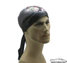 Bandana Headwrap Cotton LeatherLike Du-Rag Skull Cap Doo Rag White Paisley Skull