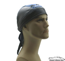 Bandana Headwrap Cotton Leather Like Du-Rag Skull Cap Doo Rag Blue Camouflage