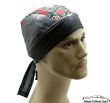 Bandana Headwrap Cotton Leather Like Du-Rag Skull Cap Doo Rag Skulls & Roses