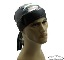 Bandana Headwrap Cotton Leather Like Du-Rag Skull Cap Doo Rag Camouflage Browns