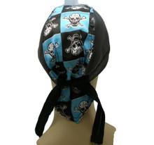 Bandana Headwrap Cotton Leather Like Du-Rag Skull Cap Doo Rag Black Blue Skulls