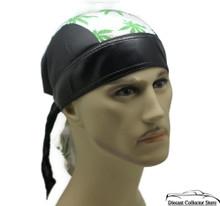Bandana Headwrap Cotton Leather Like Du-Rag Skull Cap Marijuana Weed Leaf White