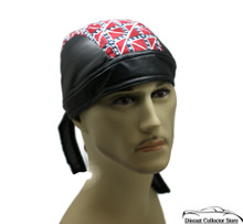 Bandana Headwrap Cotton Leather Like Du-Rag Skull Cap Doo Rag Confederate Flag