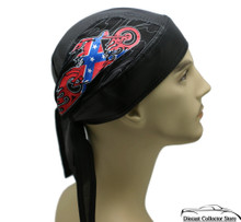 Bandana Headwrap Cotton Leather Like Du-Rag Skull Cap Motorcycle w/ Confederate Flag