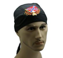 Bandana Headwrap Light Weight Cotton Du-Rag Skull Cap Eagle w/ Confederate Flag