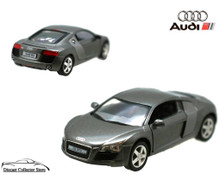AUDI R8 Kinsmart Diecast 1:36 Scale w/Pull Back Action KT5315D Dark Grey