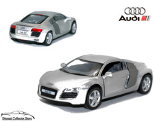 AUDI R8 Kinsmart Diecast 1:36 Scale w/Pull Back Action KT5315D Silver
