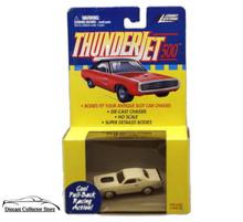 Johnny Lightning Thunderjet 500 Dodge Challenger HO Scale White Adapts Slot Car