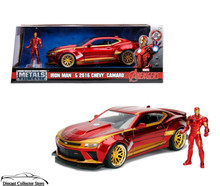 2016 Chevy Camaro & Marvel Advengers IRON MAN Jada Metals Diecast 1:24 Scale