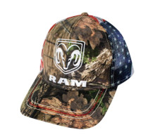 Hat - RAM Camouflage w/ flag Mossy Oak Mesh Adjustable Trucker Cap FREE SHIPPING