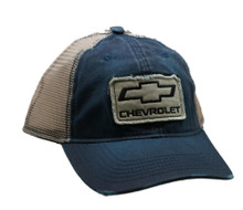 HAT - Chevrolet Appliqued Mesh Distressed Bill Trucker Cap Blue FREE SHIPPING