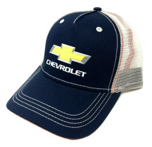 Hat - Chevrolet Bow Tie Logo Adjustable Navy Blue & Tan Mesh Back Cap FREE SHIPPING