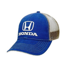 Hat - Honda Logo Emboridered Trucker Hat Blue & Gray FREE SHIPPING