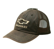 Hat - Chevrolet Bow Tie Oil Skin Unstructured Mesh Trucker Style FREE SHIPPING