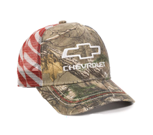 Hat - Chevrolet Camo with flag Mesh Vented Adjustable Trucker Cap FREE SHIPPING