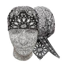Bandana Headwrap DANBANNA DELUXE Black Paisley Du-Rag Skull Cap FREE SHIPPING