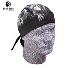 Bandana Headwrap DANBANNA DELUXE Silver Dragon Du-Rag Skull Cap FREE SHIPPING