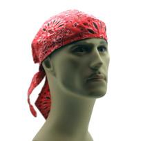 Bandana Headwrap DANBANNA DELUXE Red Paisley Du-Rag Skull Cap FREE SHIPPING
