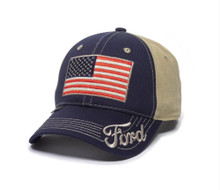 Hat - Ford Navy & Khaki with Embroidered American Flag Ball Cap