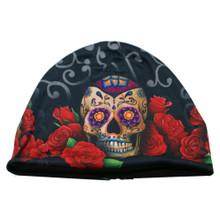 Sugar Muerte Skull Day Of Dead Sublimation Skull with Roses Beanie