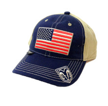 Hat - RAM Navy & Khaki with Embroidered American Flag Ball Cap