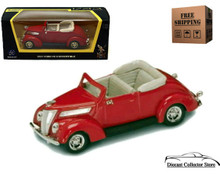 1937 Ford V8 Convertible ROAD SIGNATURE Diecast 1:43 Scale Red FREE SHIPPING