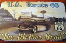 Metal - Tin Sign THE MOTHER ROAD - U.S. ROUTE 66 Man Cave Garage Sign