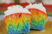 Rainbow colored cupcakes topped with buttercream frosting and rainbow confetti sprinkles on top. A kids favorite for birthday parties and more!