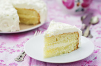 The texture and taste of the cake is just…light and fluffy!   It reminds me of wedding cake and we all know that everyone loves wedding cake.  It is a delicious almond flavored white cake topped with a choice of buttercream or lighter fluffy whip cream frosting.  Simply mouthwatering leaving you wanting to eat the whole cake!