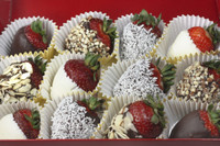 These incredible, mouthwatering creations are simply divine! Each succulent strawberry is covered with nuts, coconut & chocolate. The end result is a heavenly combination of flavors. Your strawberries are hand dipped and packed in an attractive display box.