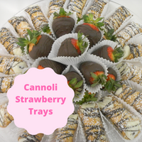 A combination of two favorites!  Italian cannoli and chocolate dipped strawberries.  Who can resist either one? With this tray you are sure to have a crowd pleaser.  Order a tray for your special event or bring along with you to your next office party.  Call ahead to ask about local delivery to your office for an additional charge. Combo includes 18 cannolis and 18 chocolate dipped strawberries