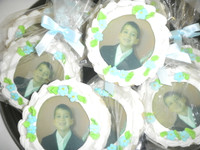 Photo cookies are a great way to celebrate any occasion!  Use as a favor or just on your dessert table for an added special remembrance for the guest of honor.  Order your photo cookies today. We will call you upon receiving your order to give you further details on how you we can discuss the image you would like to use and other details such as color options etc.