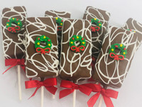 Fudge Brownie Pops Christmas Wreath