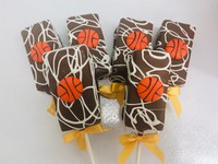 Basketball pops can be used as a favor for your birthday or team party.  Everyone can go home with one!  Better yet keep them all yourself they are delicious!  Send to  your friends, co workers, or just anyone to brighten their day with something fun and mouthwatering!