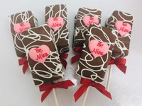 "Fudge Brownie Cake Pops-Hearts ""Be Mine"""